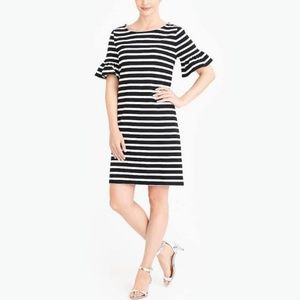 J. Crew striped peplum bell sleeve dress